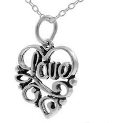 Sterling Silver Calligraphy Love Necklace