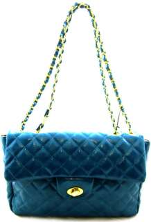 Designer Inspired Quilted Gold Chain Strap Handbag Blue