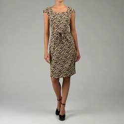 Tahari ASL Womens Leopard Print Matte Jersey Dress