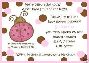 Personalized Pink Brown Ladybug Baby Shower Invitations