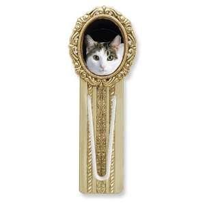 Gold tone Calico Cat Victorian Bookmark Jewelry