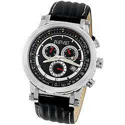 August Steiner Mens Black Strap Quartz Chronograph Watch