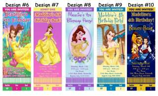 Belle Beauty and the Beast ~ Birthday Party Ticket Invitations