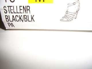 NINE WEST STELLENR Black Womens Leather Strappy Sandals Shoes Size 8