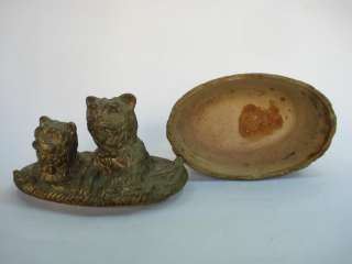 1920's ANTIQUE DECORATIVE POTTERY BOX, DOGS ,MARKED