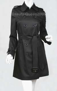 New 2010 DOUBLE BREASTED Trench Coat/Dress Black/Beige