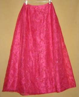 Vtg HOT PINK Sheer Chiffon Evening COCKTAIL Party MAXI SKIRT New Years