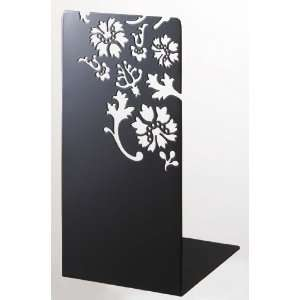 Kirie   A Pair of Black Metal Bookends with Flower Cutout
