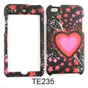 com Apple iPod Touch 4 Pink Heart and Stars on Black Hard Case/Cover