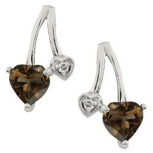 0.89 Ct Heart Shape Brown Smoky Quartz and Topaz 10k White