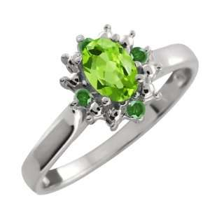 0.58 Ct Oval Green Peridot and Green Diamond 10k White