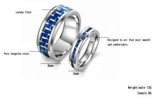 Tungsten Carbide Ring Set Wedding Bands Blue Carbon Inlay