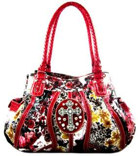 Rhinestone Cross Flower Leopard Animal Print Satchel Purse Handbag Red