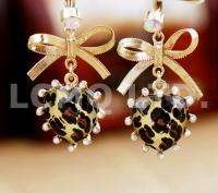 Fashion Hot Cute Gold Bow Knot Leopard Heart Dangle Earrings 0088