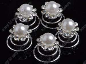 12pcs clear Crystal Wedding Bridal hair spins clips twists