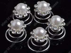 12pcs clear Crystal Wedding Bridal hair spins clips twists