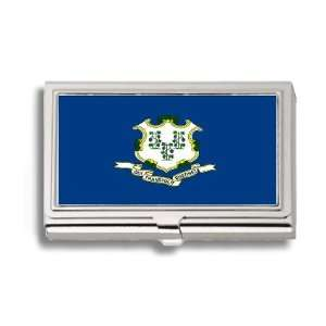 Connecticut State Flag Business Card Holder Metal Case