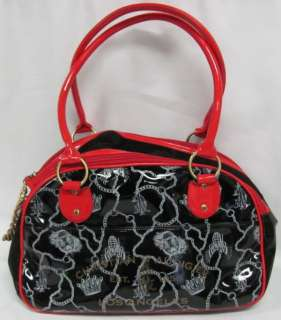 Red Christian Audigier Dog Pet Carrier Purse Skull Shirt Collar