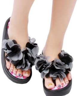 New Summer Lady Girl Beach Sandals Flower Slippers Flip Flop Heel