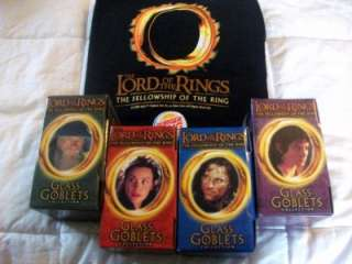 BURGER KING LORD OF THE RINGS GLASS GOBLET SET OF FOUR~NIB~COMES WITH