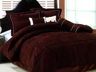 OXFORD Bedding Solid Brown or Black Suede Comforter Set
