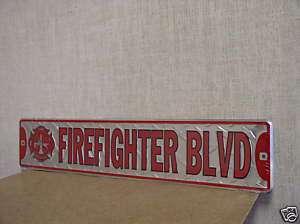 Firefighter Blvd Metal Embossed Street Sign