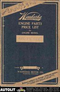 1935 Waukesha 6BK 6B Truck Engine Part Book Thew Shovel |