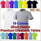 Plain Blank Short Sleeve CrewNeck Solid Pure Cotton T Shirt Basic Top