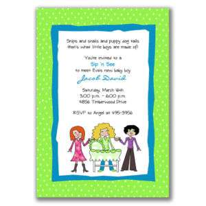 Sip and See Invitations Blue Green Baby Shower Boys