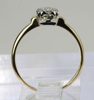 EUROPEAN CUT DIAMOND SOLITAIRE 14K YELLOW GOLD ENGAGEMENT RING