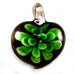 Murano Green Glass Flower Heart Pendant