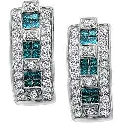 14k Gold 3/4ct TDW Blue/ White Diamond Hoop Earrings (G H, SI2