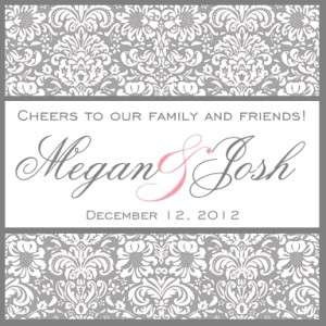 24 Personalized Wedding Damask Wine or Favor Labels