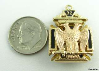 Tri Fold 32nd Degree Scottish Rite Knights Templar Masonic Fob   10k