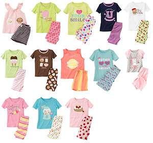 BABY GIRLS SPRING SUMMER 2PC SET S/S PAJAMAS GYMMIES PJS 6M 2T U PICK