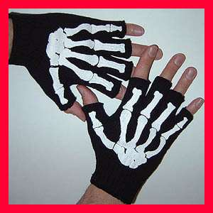 GOTHIC Mens Misfit White Skeleton Bones Fingerless Black Work Gloves