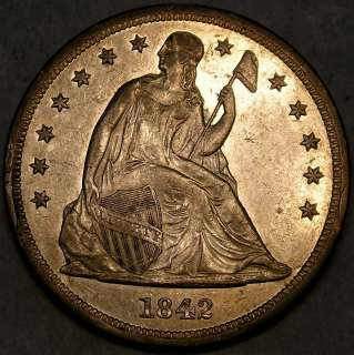 1842 LIBERTY SEATED SILVER DOLLAR HIGH QUALITY APPEALING RARE