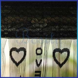 Fringe Door Window Panel Room Divider String Curtain Black Hearts