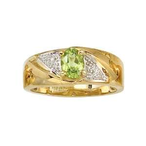 14K Yellow Gold 0.01 ct. Diamond and 7 x 5 MM Oval Shaped Peridot Men
