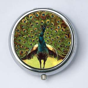 Green Peacock pillbox pill case box holder peacock feathers vintage