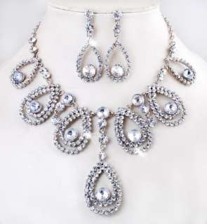 23961 White Drops Rhinestone Crystal Bead Bridal Wedding Necklace