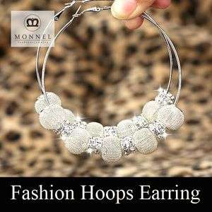 Wives Circle Hoops Earring Fashion Jewelry Beads Silver Tone