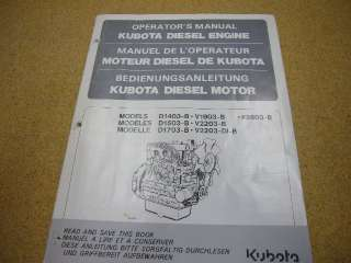 Kubota Diesel Engine Operators Manual