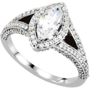 Inc. 2.10CT Marquise Cut Diamond Engagement Ring 14K White Gold Halo