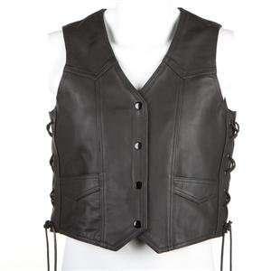 River Road Womens Plain Leather Vest   2X Large/Black Automotive