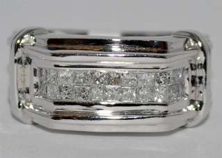 MENS DIAMOND WEDDING BAND RING 1CT 14K WHITE GOLD PRINCESS CUT 11MM