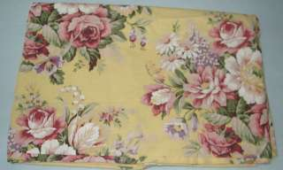 Ralph Lauren Brooke Yellow Floral Queen Flat Sheet   EUC