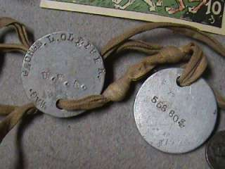 WW1 U.S. Army Military Pins Bring Backs German Money Dog Tags