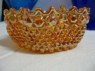 VINTAGE CARNIVAL GLASS BOWL DAISY BUTTON DIAMOND POINT