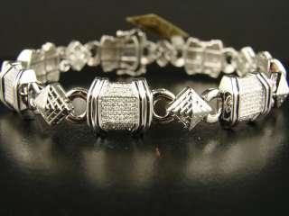 10K MENS WHITE GOLD SI PAVE DIAMOND BRACELET 3.80 CT